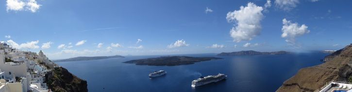 panorama of the Mediterranean Sea from Santorini island in Greece