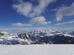 panorama of dolomites in the snow in south tyrol