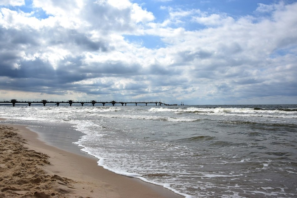 distant view of the pier on the Baltic Sea
