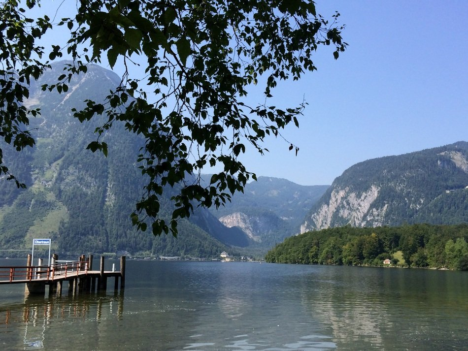 Landscape of clear mountain lake in Austria