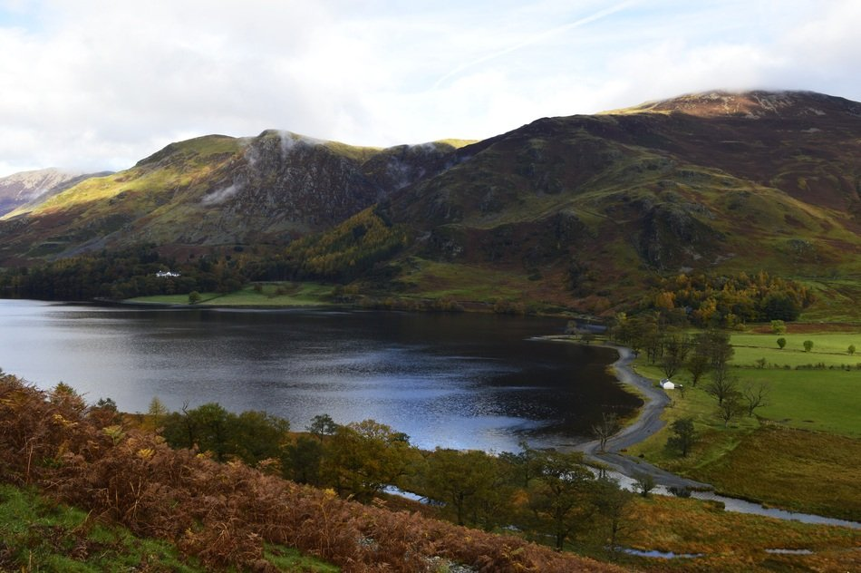 panorama of Lake buttermere among picturesque hills