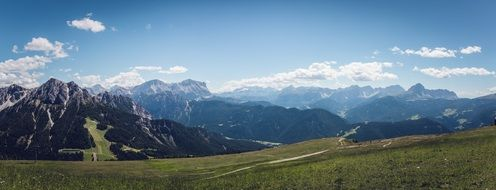 panorama of the mountains of south tyrol on a sunny day