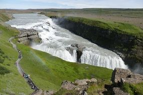 powerful Gullfoss waterfall