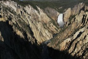 landscape of the lower yellowstone falls