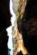 passage between cliffs in thailand