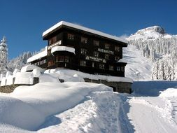 winter house on the top of the Alpine mountain