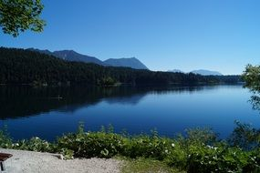 Panorama of the picturesque lake eibsee in Bavaria
