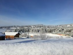 panorama of a village in snowy bavaria