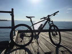 mountain bike on a wooden pier