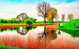 picturesque lake in a colorful vibrant landscape