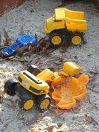 plastic toys in the sandbox