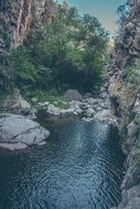 panorama of a river in a gorge surrounded by trees