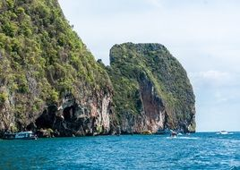 picturesque rocky coast of phi phi island