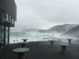 volcanic steam over a resort in iceland