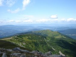 panorama of the Beskydy mountain system in Poland