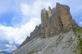 Panorama of the Tre Cime Di Lavaredo massif in Italy