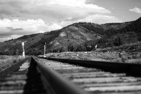 black and white picture of railroad