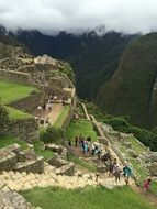 tourists on mountain side, peru, Machu Pichu