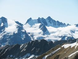 panorama of snow-capped mountains gran paradiso in the alps