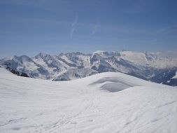winter panorama in the Alps against the blue sky