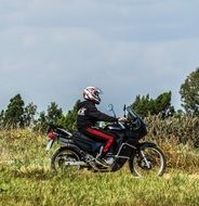 motorcycle racer in the field