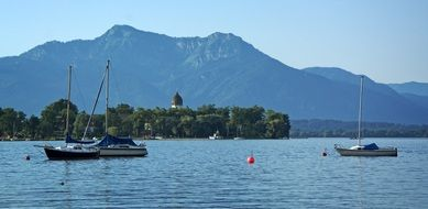 panorama of the ladies island on the bavarian lake of Chiemsee