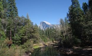 Half Dome Yosemite National Park river forest view