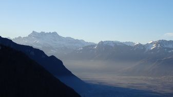 panorama of the multifaceted mountain dents-du-midi