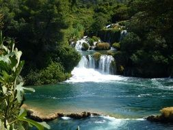 cascades at dalmatia waterfalls in croatia