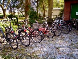parked bicycles in countryside