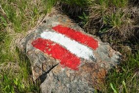 Red and White Mark on stone, hiking Trail sign, Austria