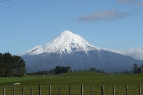 distant view of a snowy volcano in new zealand