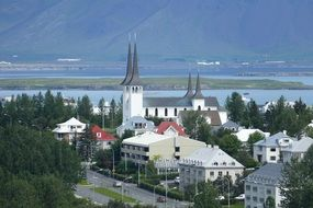 panoramic view of reykjavik on the atlantic