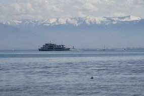 distant view of a ship on Lake Constance