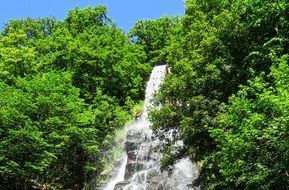 waterfall on a slope among green trees