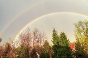 double rainbow over the village