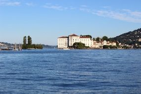 panoramic view of the island of Isola Bella from Lake Lago Maggiore