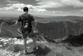 hiker in the mountains in black and white image