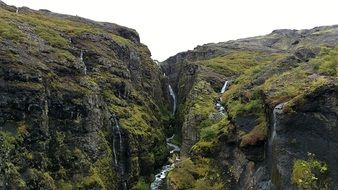 panoramic view of a stream in the mountains of Iceland