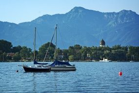 panoramic view of boats on lake chiemsee