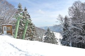ski lift in the black forest in winter
