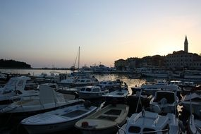 boats in harbor at dusk, croatia, Rovinj