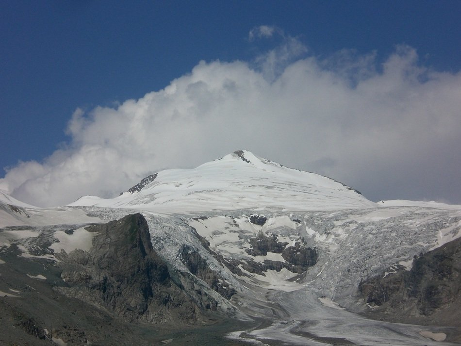 distant view of the pasterze glacier in austria