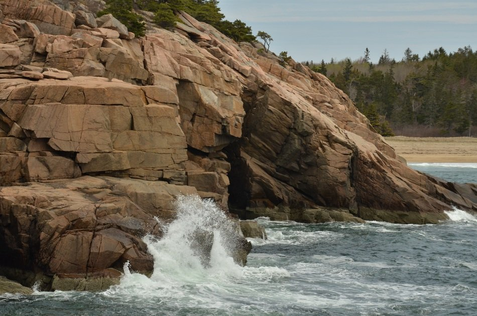 landscape of rock on sea coast in acadia national park