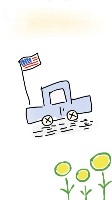 machine with American flag and yellow flowers drawing