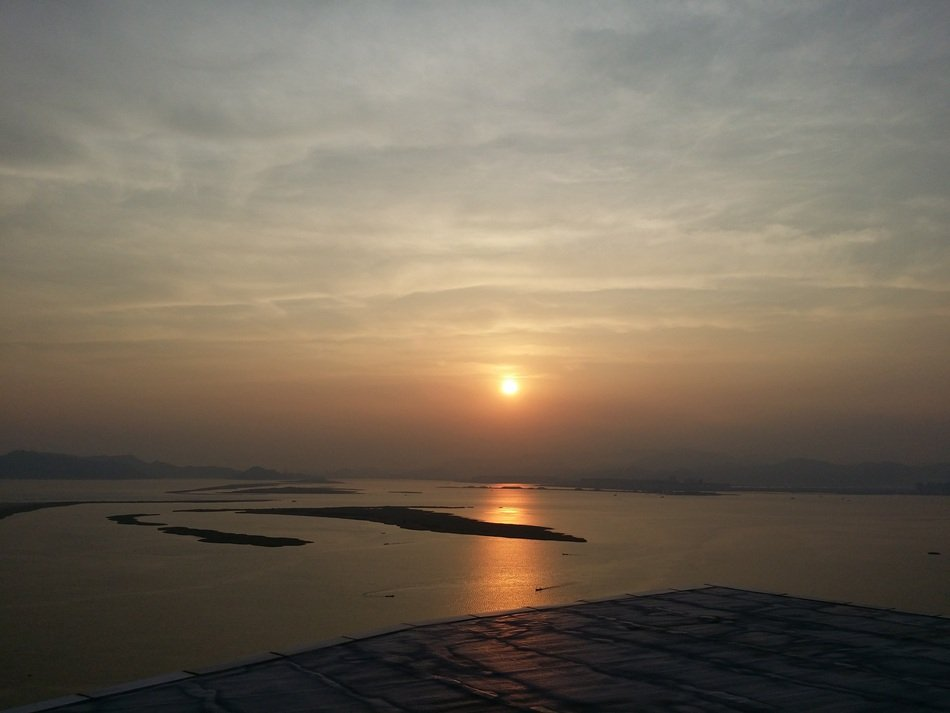 panoramic view of the coast of south korea at sunset