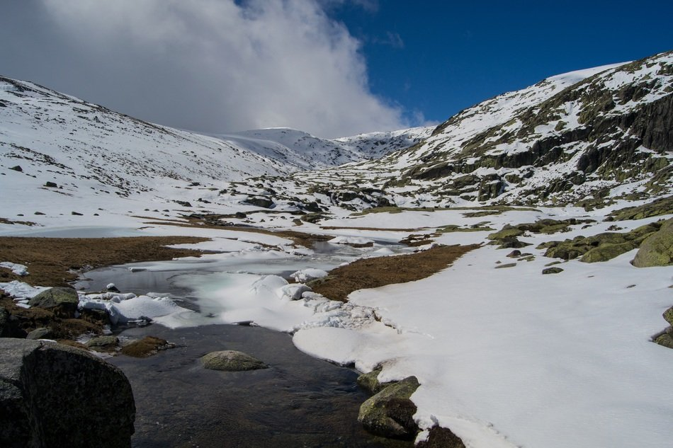 panoramic view of a frozen river in the mountains