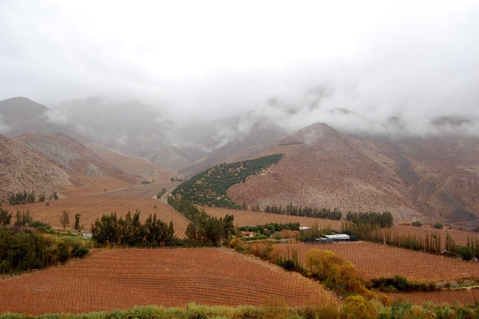 panorama of elqui valley in the clouds