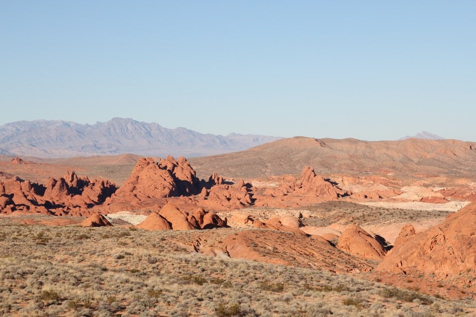 Beautiful panorama of orange sandstones in the desert with canyon in America
