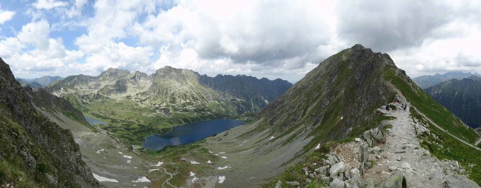 panorama of mountain lakes and Tatras in Eastern Europe